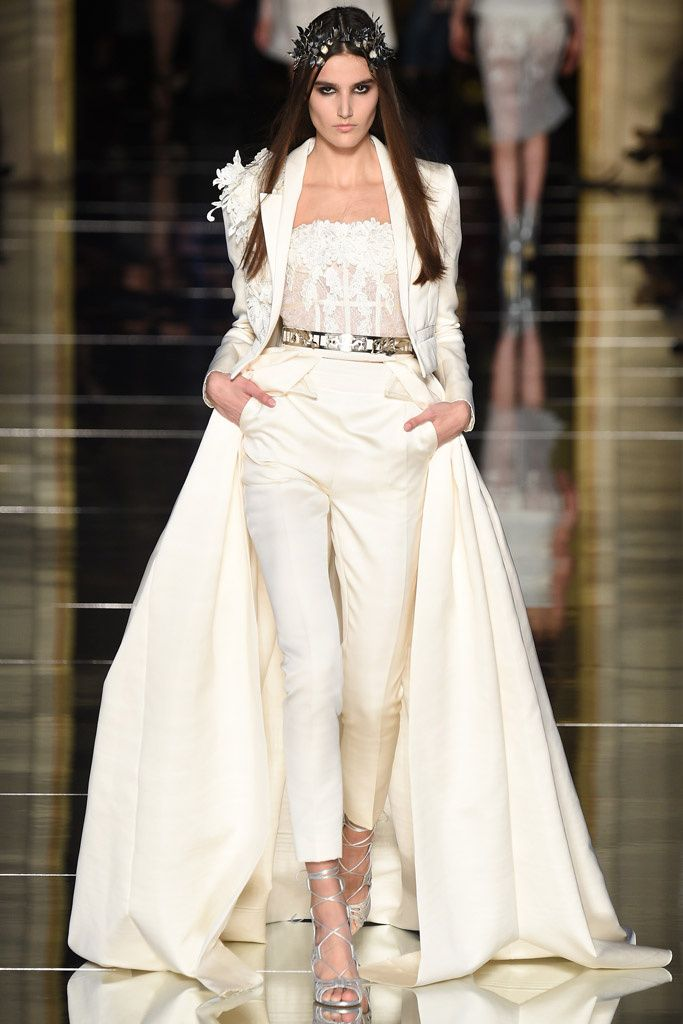 ATELIER Zuhair Murad Spring/Summer 2016 - Lace corse, high waisted pitillo pants and train jacket. Bridal look <3