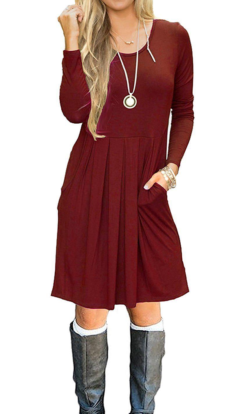 lilbetter damen plissee lose swing casual kleid mit taschen