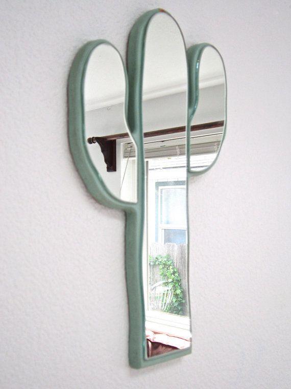 Retro Cactus Mirror - Vintage southwest style cactus mirror - Fun cactus mirror