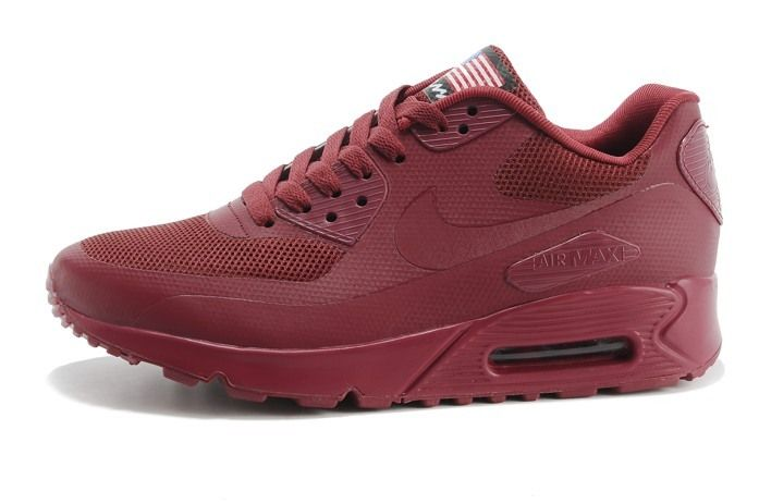 Nike Air Max 90 Hyperfuse PRM Womens Shoes Wine Red