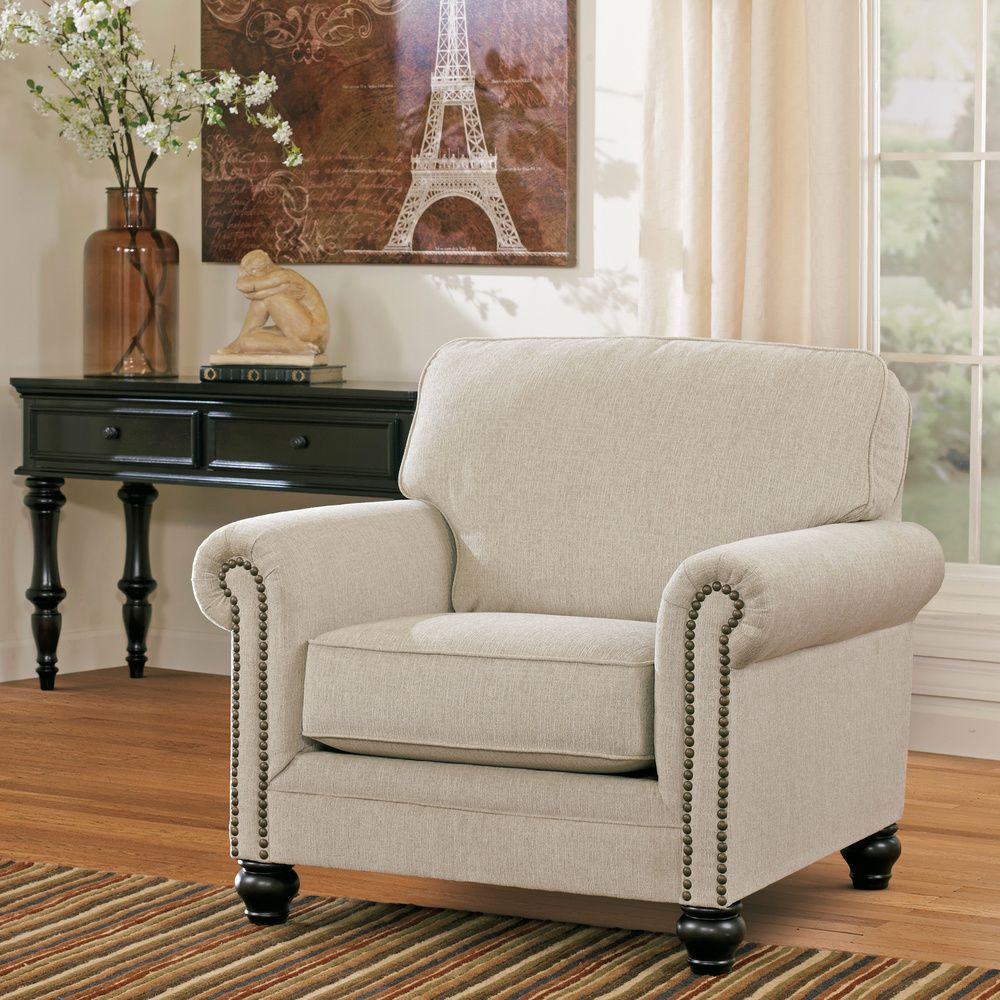 Signature Design by Ashley Milari Off-white Linen Arm Chair ...