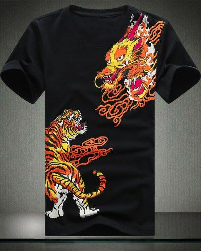 1a1aa91ee7c06 Dragon tiger tattoo t shirts for men personalized plus size clothing ...