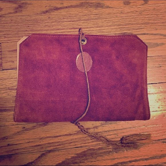 Suede Travel Jewelry Organizer Burnt orange suede leather organizer