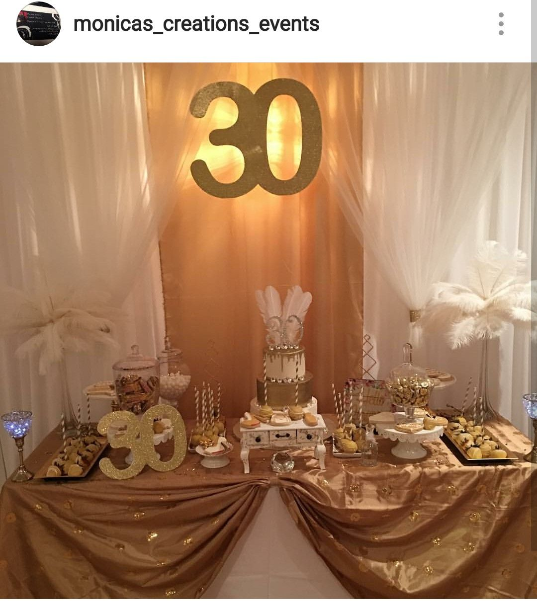 30th Birthday Theme Dessert Table and Decor 30th