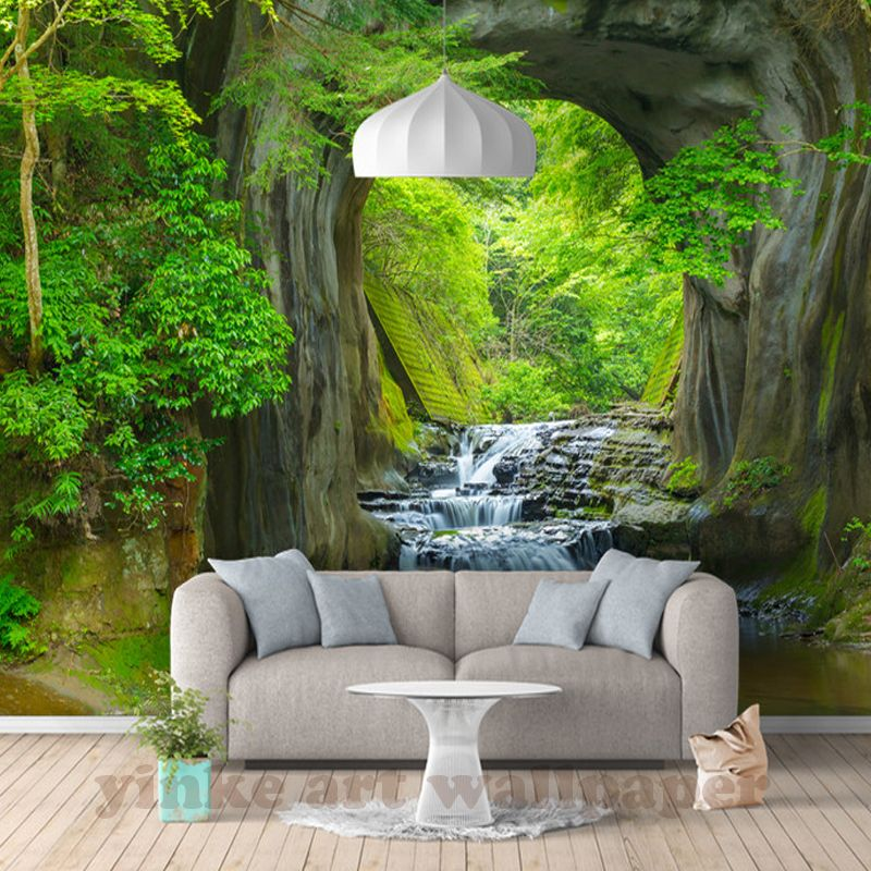 Custom 3d Fresh Rill Forest Wall Mural Photo Wallpaper Scenery For Walls 3d Room Landscape Wall Pape Stone Wallpaper Custom Photo Wallpaper Landscape Wallpaper
