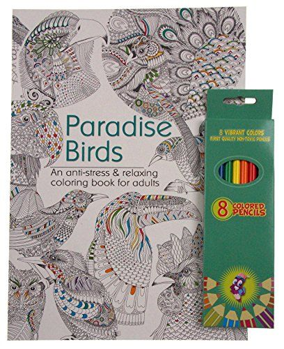 Paradise birds adult and teen coloring book bundled with vibrant colored pencils more