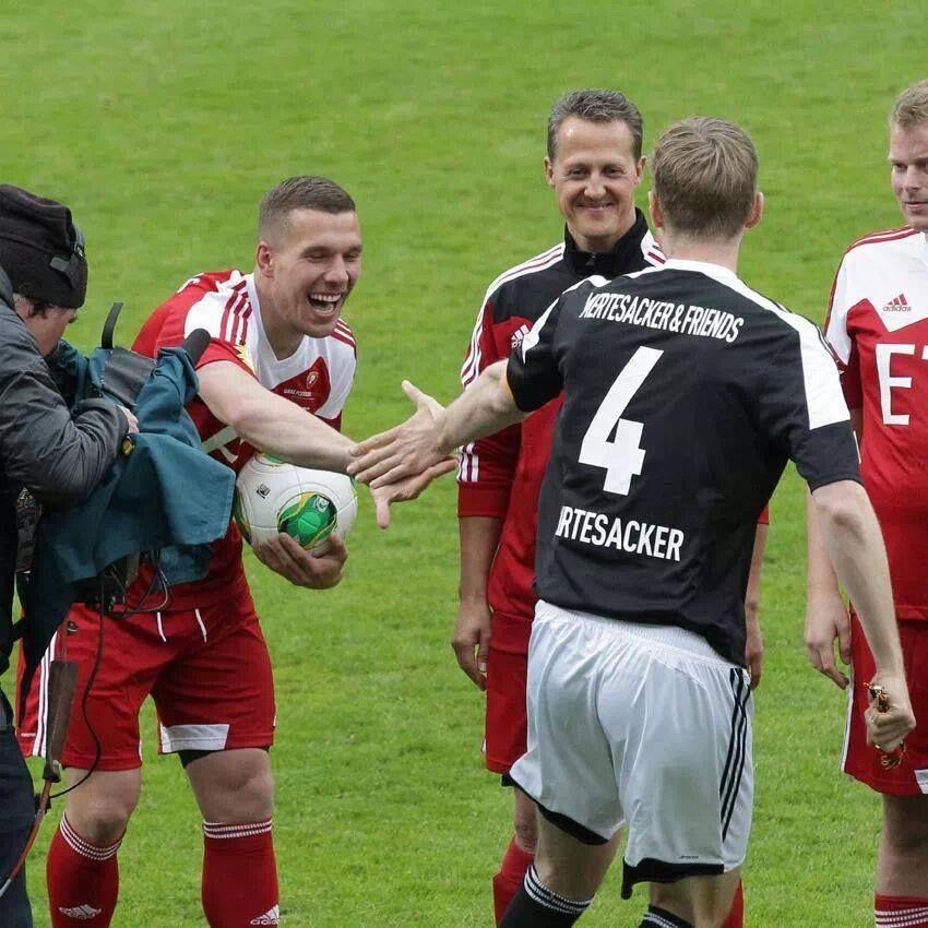 Podolski, Mertesacker & Michael Schumacher at a Charity