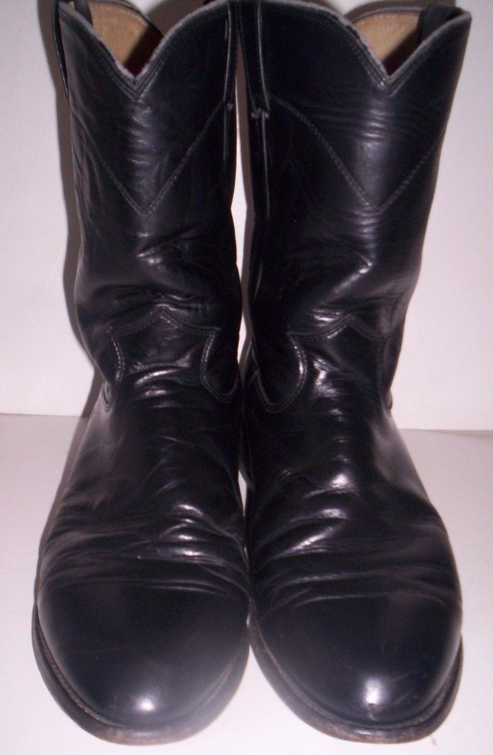 809a523bf53 Men's Justin Jackson Roper Leather Boots Size 9 1/2 EE Black # 3133 ...