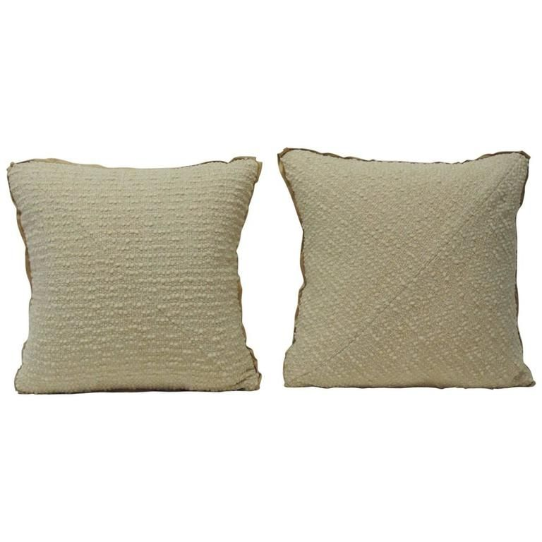 Pair Of Vintage Italian Cream Wool Boucle Double Sided Decorative New Italian Decorative Pillows