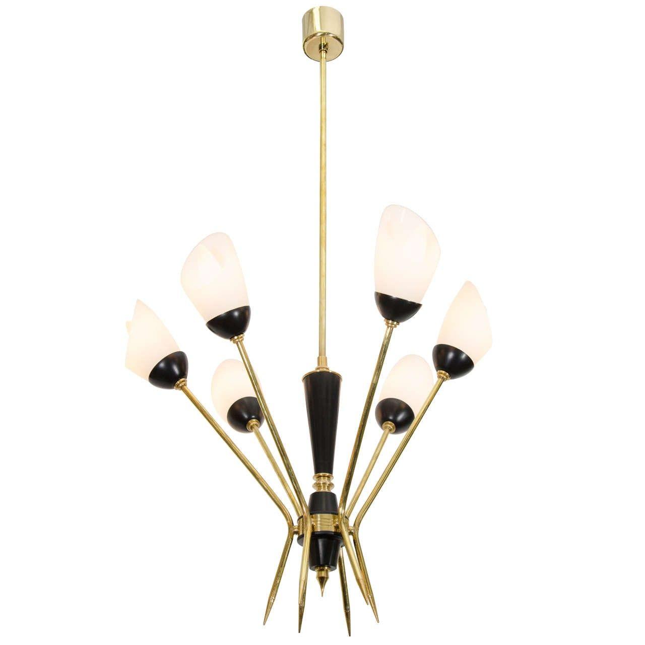 Stilnovo Black Enamel and Brass Tulip Chandelier ...