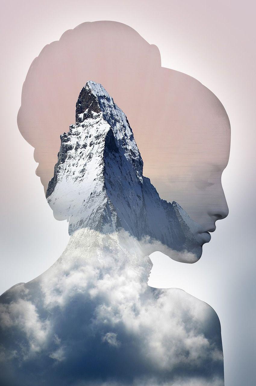 Portrait, Double Exposure, Mountain, Photoshop, Woman