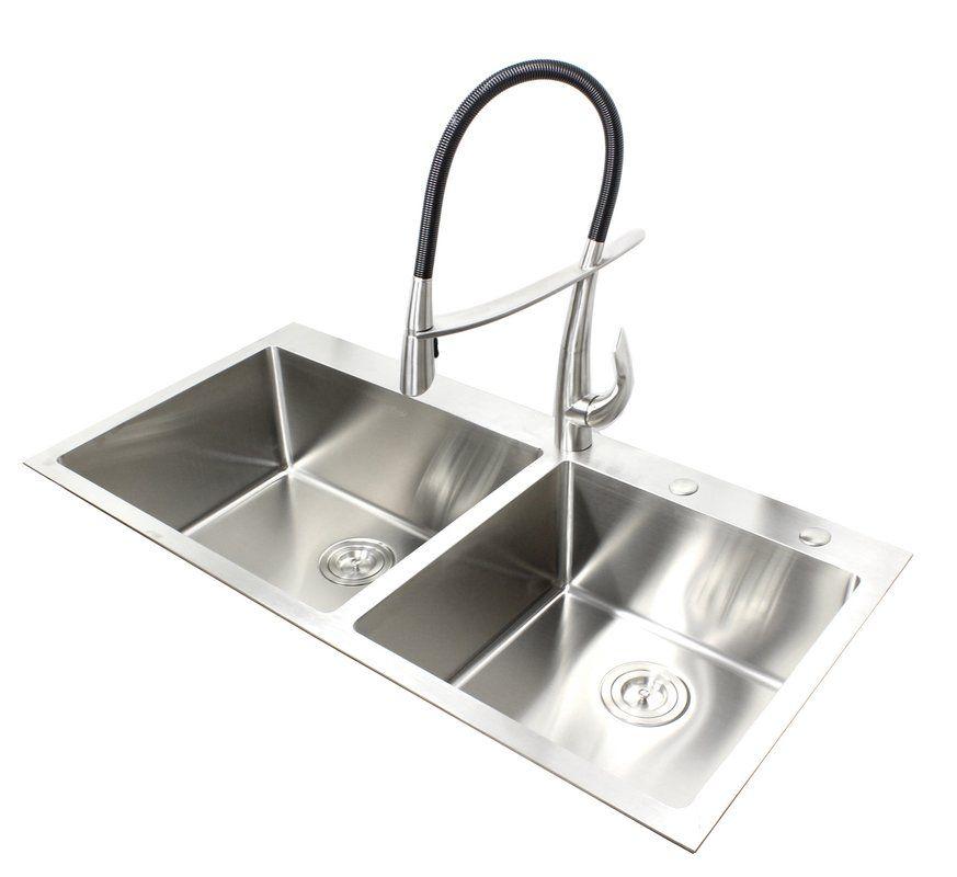 Ariel 42 L X 21 W Double Basin Drop In Kitchen Sink With Bonus