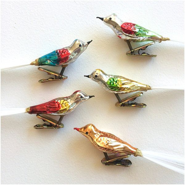 2 Vintage Mercury Glass Clip On Bird Ornaments ($38) ❤ liked on Polyvore featuring home, home decor and holiday decorations