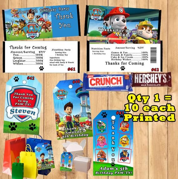 Paw Patrol ~ Candy Wrapers Nugget Labels Wrappers~Personalized