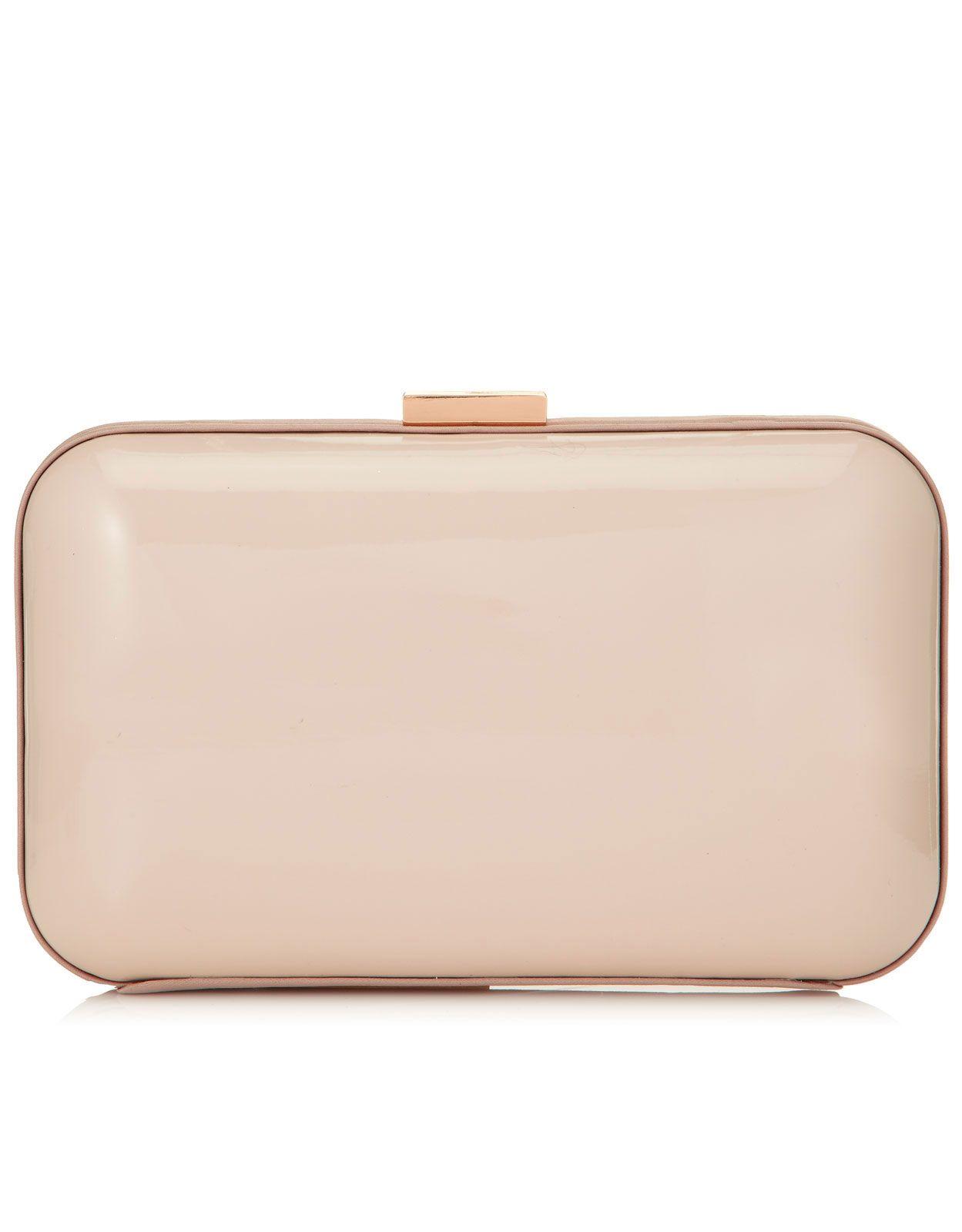 Satin Trim Patent Hardcase Clutch Bag
