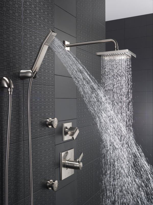 Luxury Showers With Rain Showerheads, Handheld Shower Sprays, And Body Spray  Jets. All
