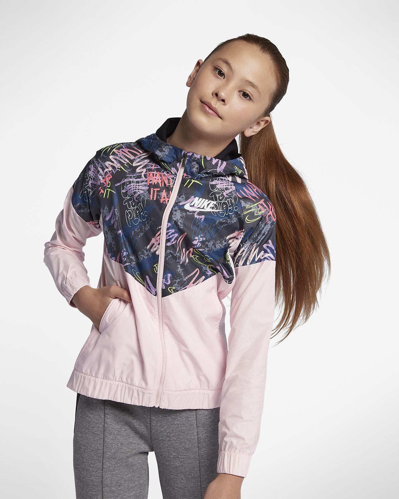 55e18710a5126 Nike Sportswear Windrunner Big Kids' (Girls') Printed Jacket - M (10-12)