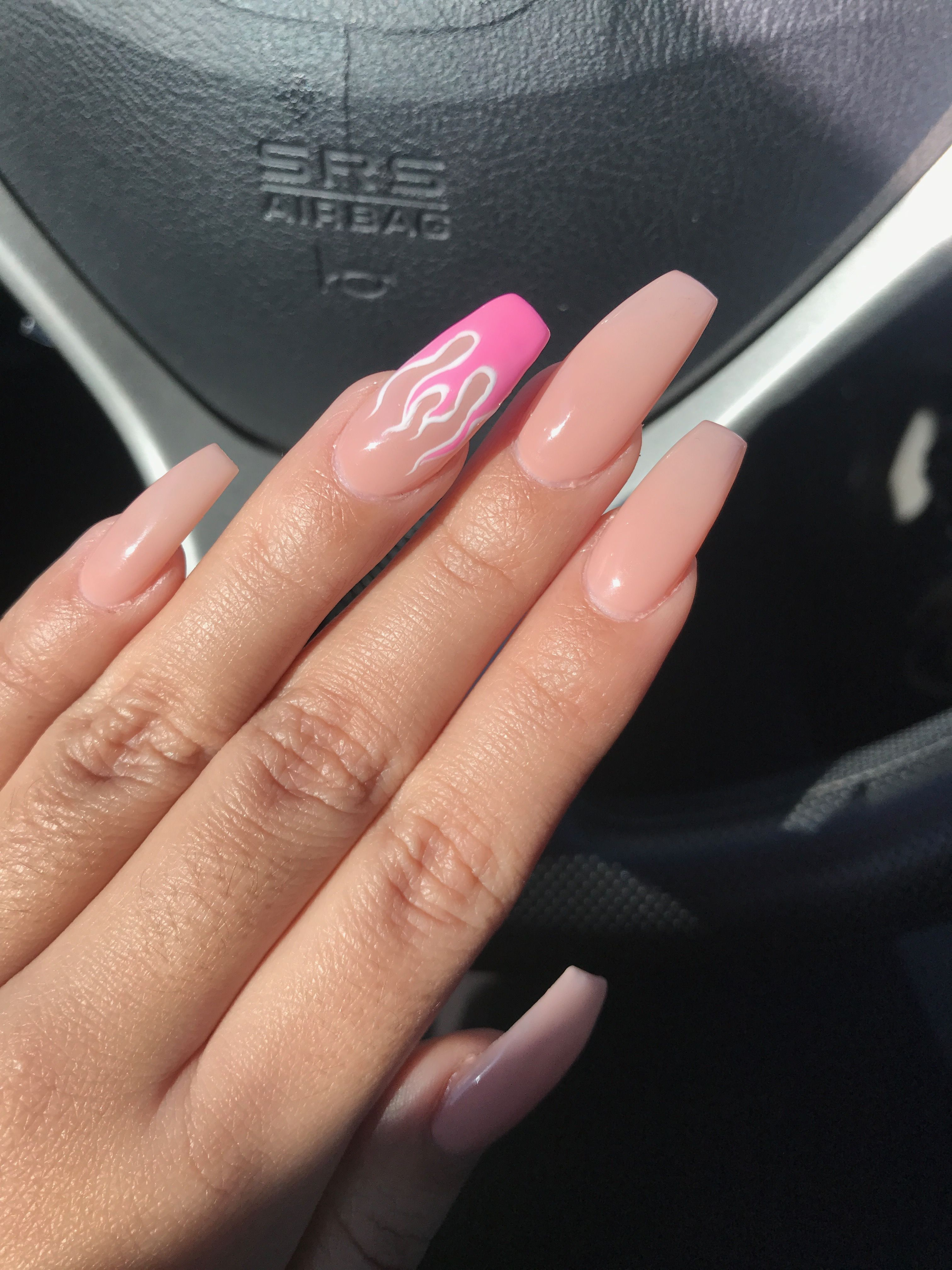 Pink Valentine Flame Coffin Acrylic Nails Pink Acrylic Nails Fake Nails Valentines Nails