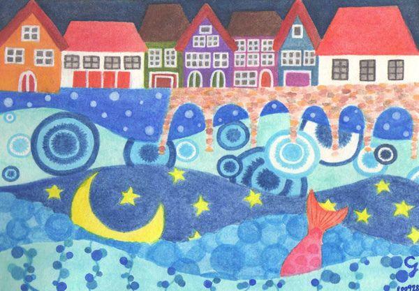 <第二夜> 彩虹屋裡的童話從書中解放,斑駁的紅磚橋終於踏遍世界,星星月亮開心的在海上跳舞,失去雙腳的美人魚擁有了最美麗的海洋,我在海水溫柔的擁抱中逐漸清醒,原來這一切都是我跌入書中的夢境,100928