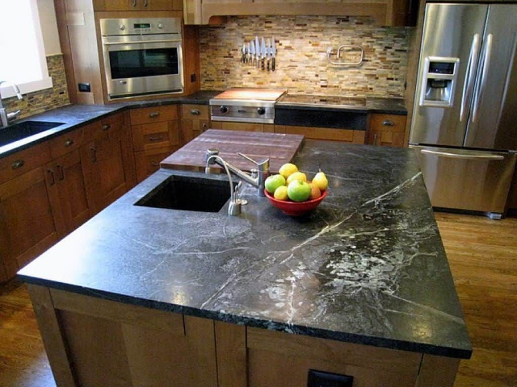 Soapstone Countertops Laying In Kitchen Tops And Island With Modern Appliances Outdoor Kitchen Appliances Kitchen Countertops Outdoor Kitchen Countertops