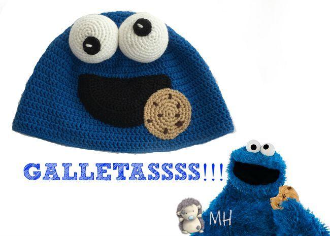 Gorro a crochet, ¡el Monstruo de las Galletas!   Galleta, Gorros y ...