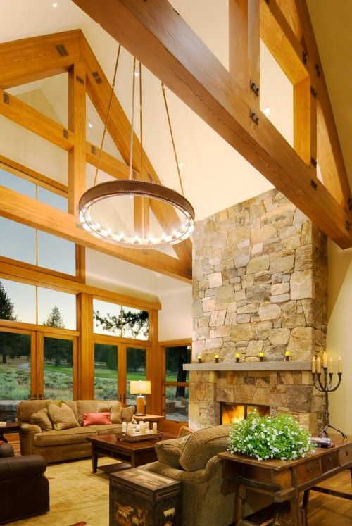 Windows, beams, fireplace, love this look