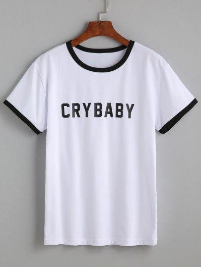 498c4b85424f Camiseta escote redondo letras - blanco Letras Blanco Y Negro, Ropa  Juvenil, Diseños Para