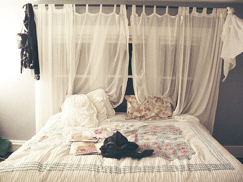 Diy sheer curtains instead of a headboard home sweet - What to use instead of a headboard ...