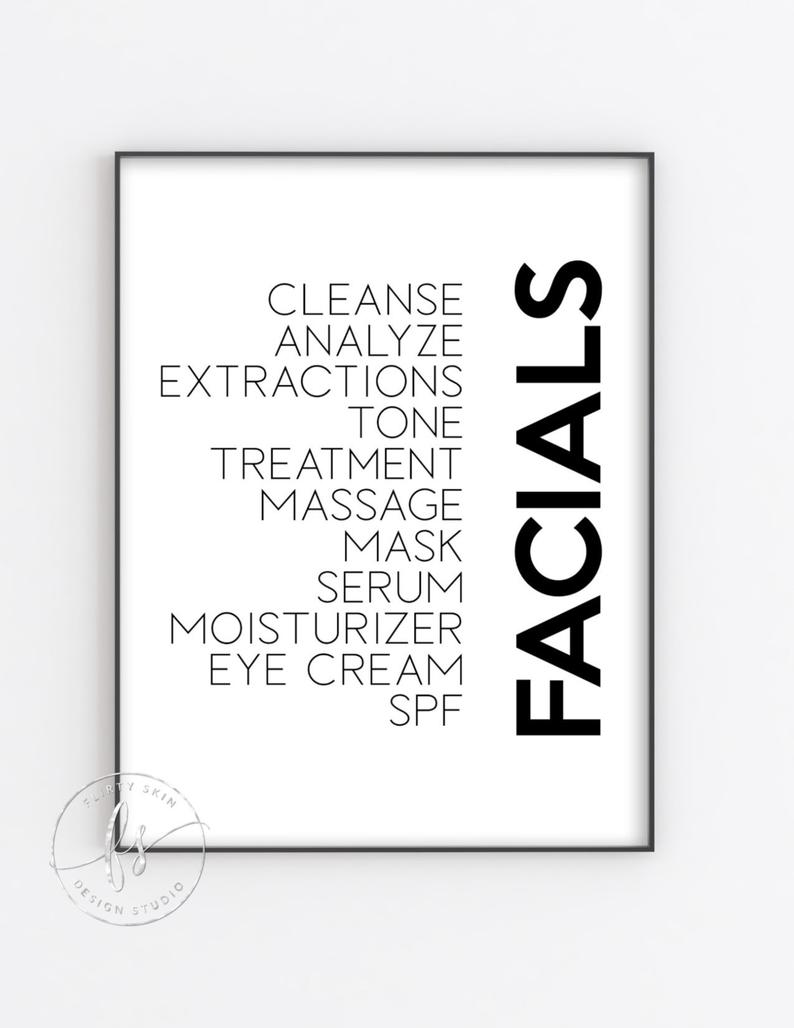 Facials | Spa Decor | Spa Quote | Esthetician Decor | Beauty Quote | Home Decor | Spa | Salon | Spa Decor | Esthetician | Facials |