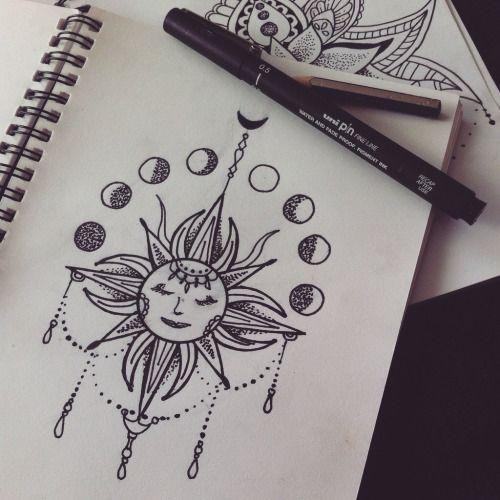 Elegant Sun And Moon Mandala Drawing Tumblr   Google Search