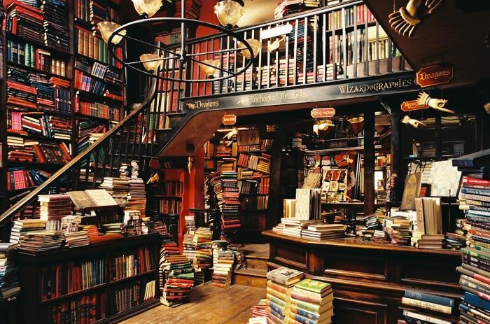 """Flourish & Blotts, """"Harry Potter Series"""" The 10 Most Magical Bookshops and Libraries in Pop Culture History - Lone Wolf Magazine"""