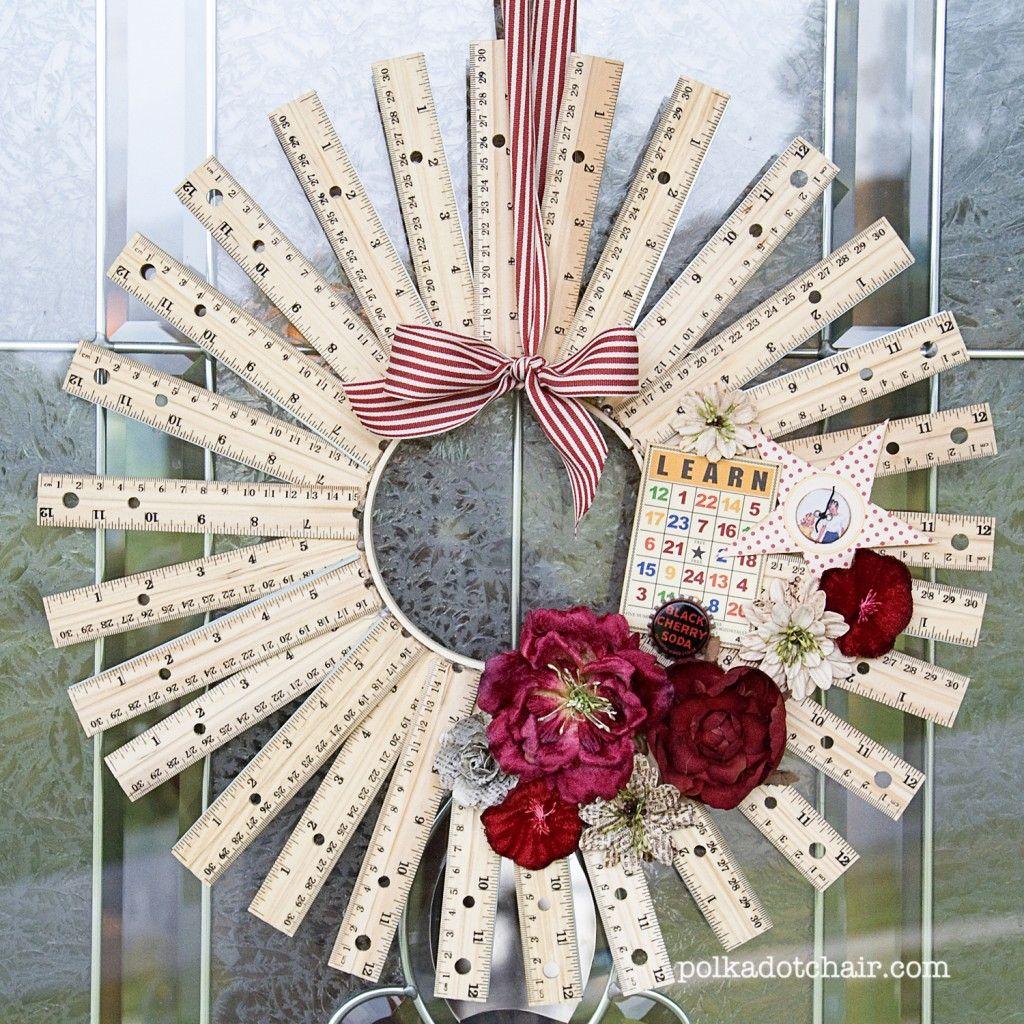 "Ruler Wreath-- fun for teacher appreciation gift. Made from 12"" rulers cut in half."