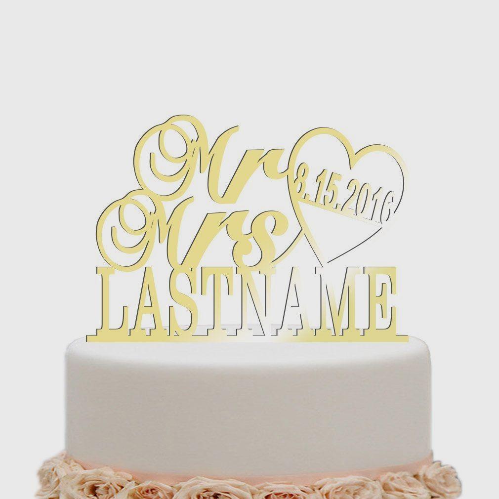 Marriage heart mirror gold custom last name cake topper wedding