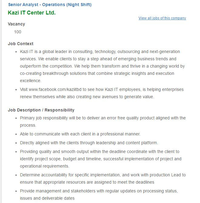 Career  Kazi It Center Ltd  Senior Analyst  Operations Night