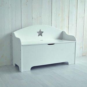 Kinderbank / Sitzbank STAR, weiß, mit Stauraum, 100cm ...