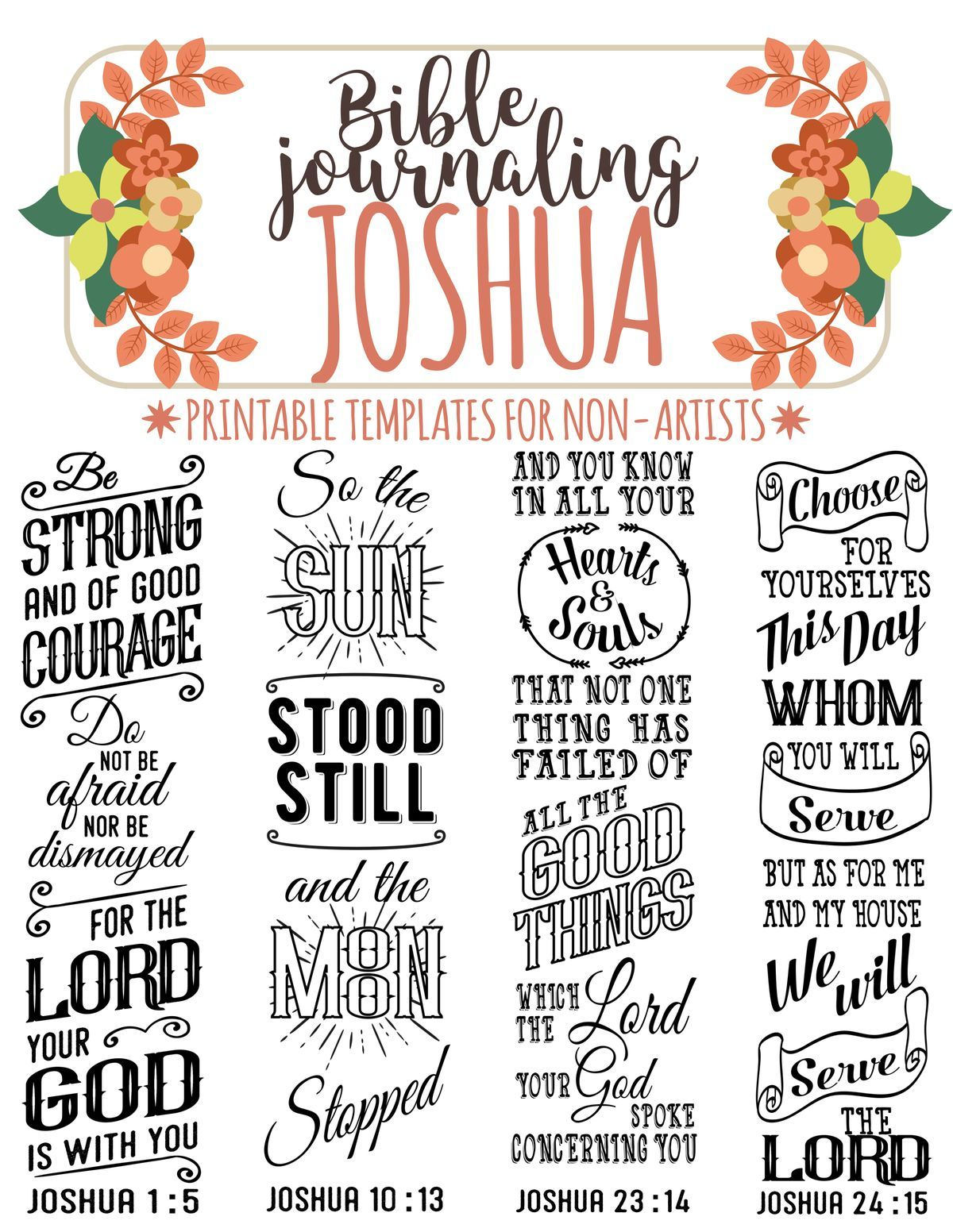 Joshua Printable Bible Journaling Templates For Non Artists Just Print Amp Trace