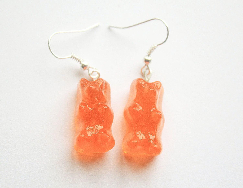 Orange Gummy Bear Earrings. £5.00, via Etsy.