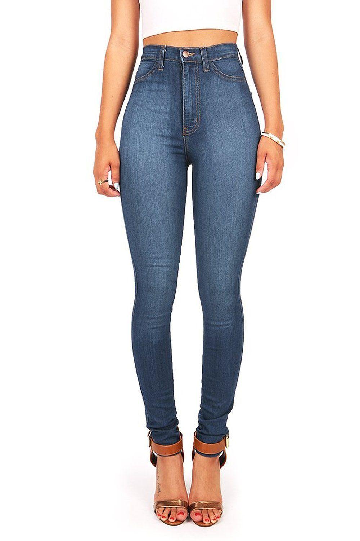 2081ca30d71543 Vibrant Women's Classic High Waist Denim Skinny Jeans at Amazon Women's  Jeans store