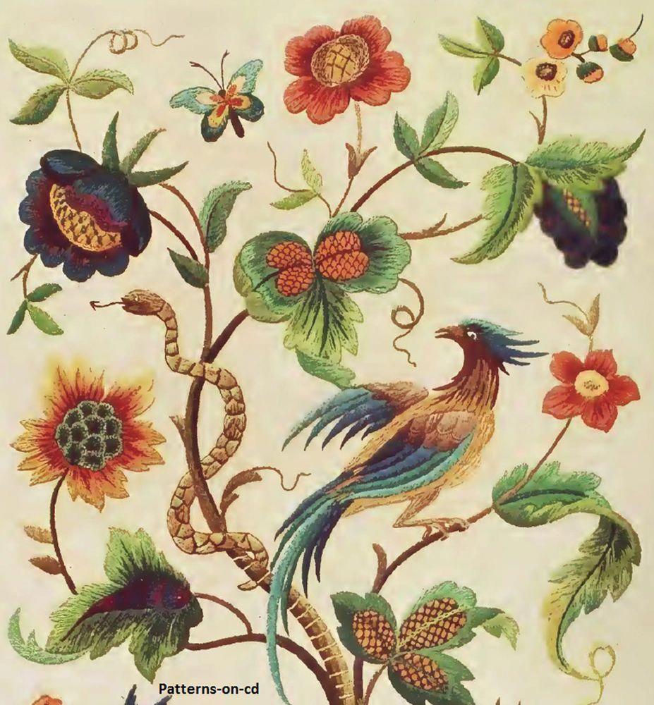 Mão jacobean embroidery designs para floss bordado de rosca como de