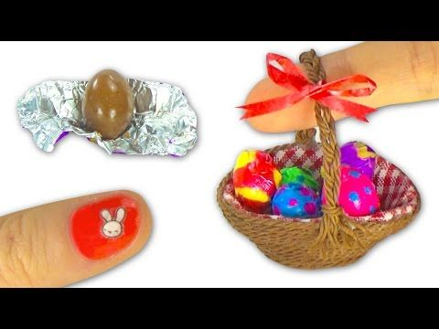 Miniature edible chocolate Easter Eggs and Easter basket or picnic basket…