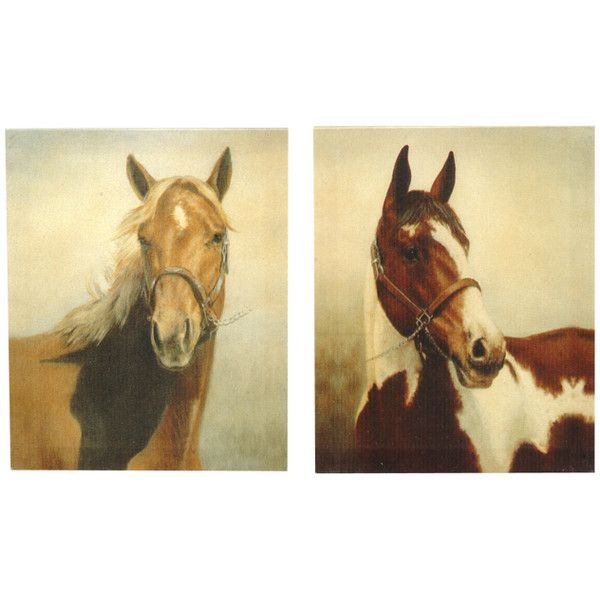 Pair of Horses Canvas Wall Hangings - Set of 2 ❤ liked on Polyvore ...