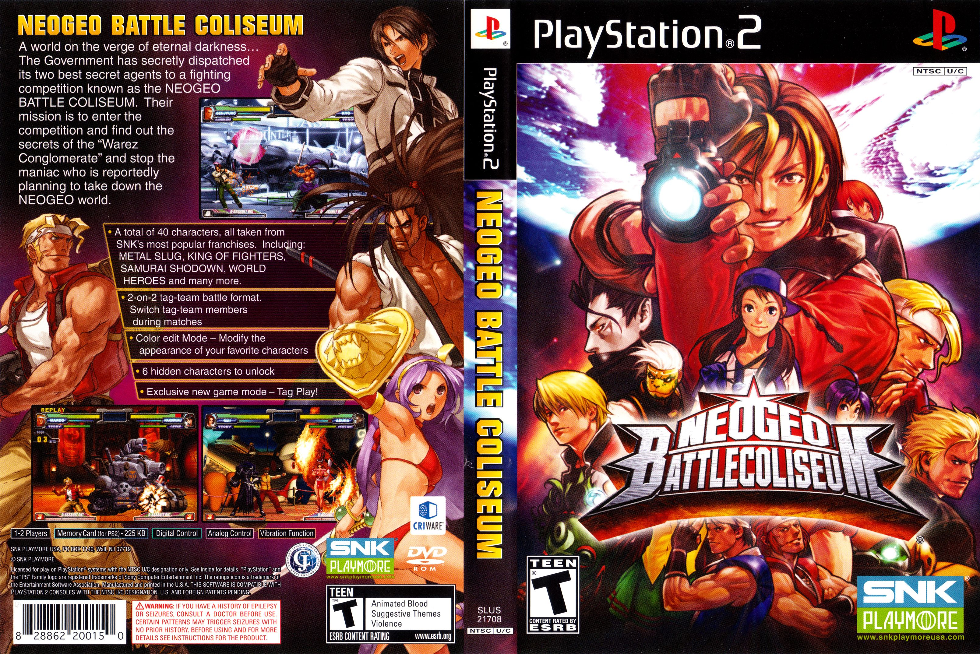 Neo Geo Battle Coliseum Playstation 2 Cover.