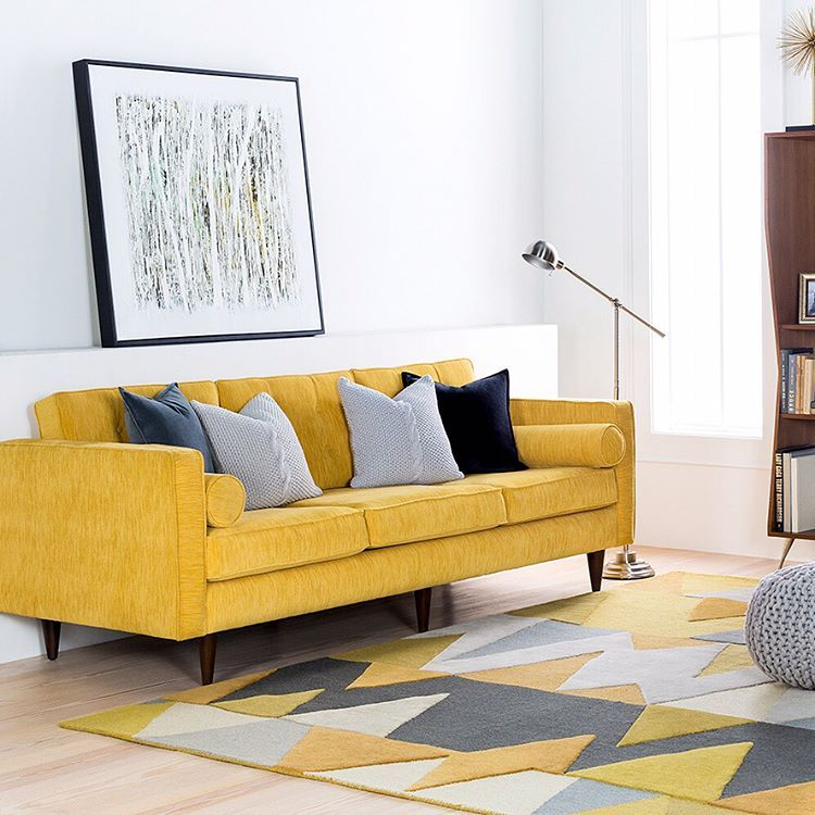 Mustard Couch With Grey Black And White Accents Mustard Living Rooms Couch Decor Joybird Furniture