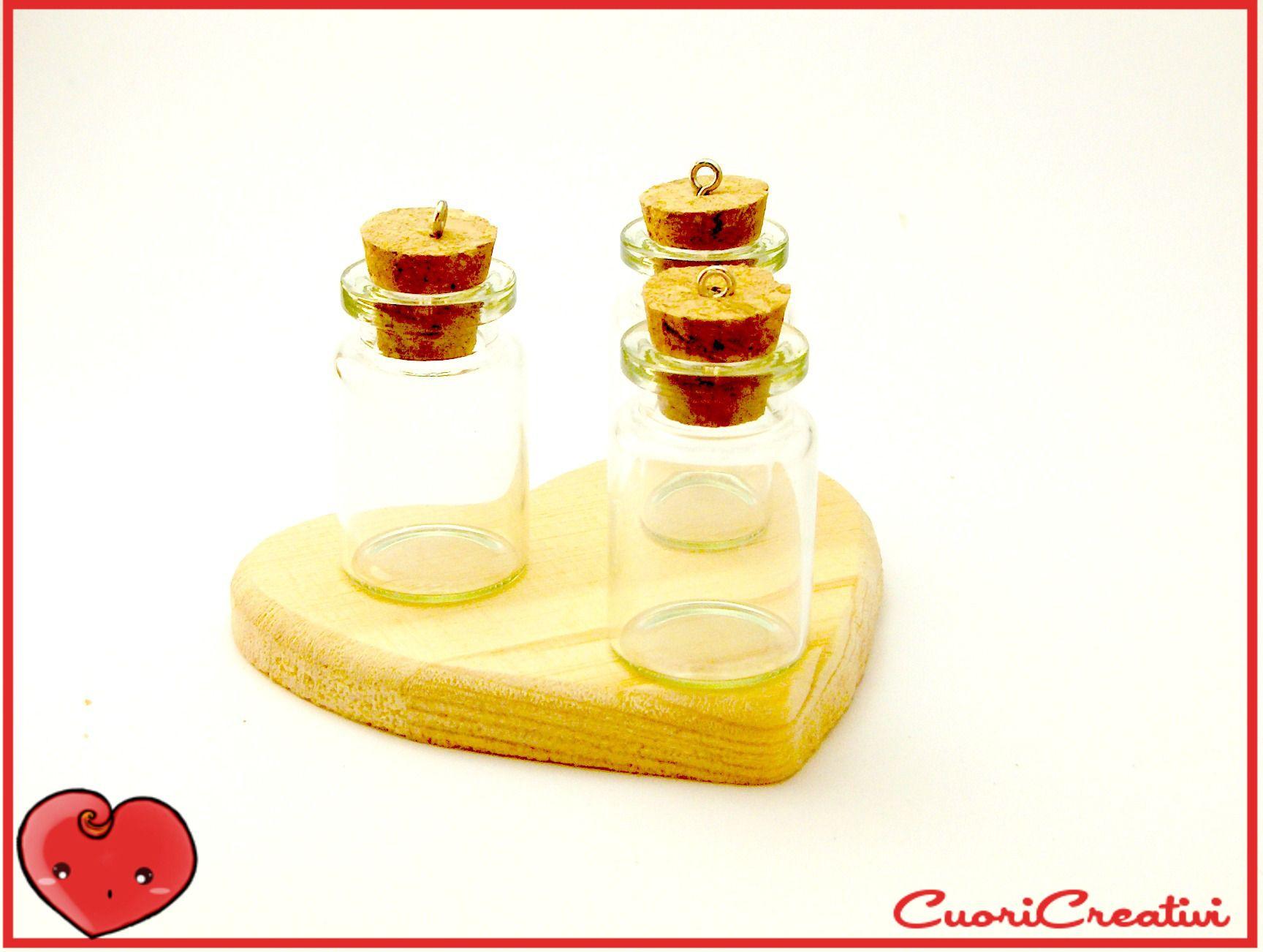 Boccettina in vetro con tappo di sughero e chiodino in metallo, 4mm