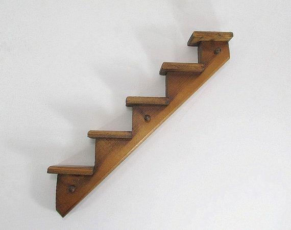Vintage Stair Shelf Display Shelf Key Holder Wood Wall Shelf .