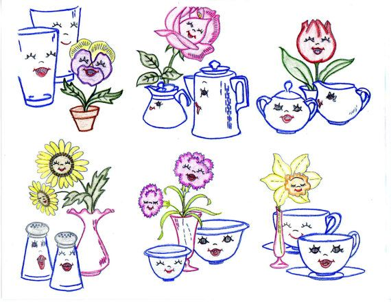 Animated Flowers Sugar Creamer Salt Pepper 974 repo Iron on Embroidery Transfer