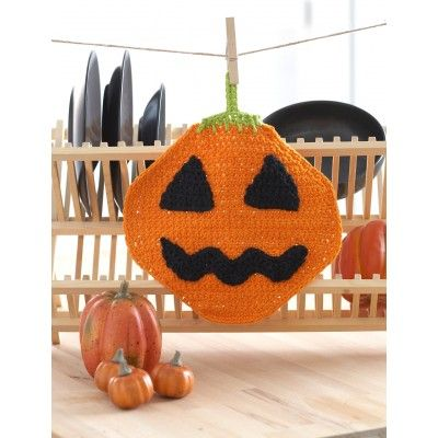 [Free Pattern] Jack'o Lantern Dishcloth To Bring The Halloween Celebration Into Your Kitchen - Knit And Crochet Daily