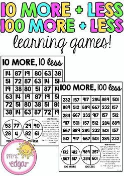 10 More And Less 100 More And Less Games 2nd Grade Math Games Studying Math 1st Grade Math