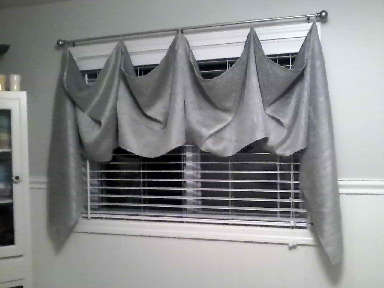 I Used One Panel Window Treatment That Found On Clearance Cut It Up The Middle Sewed Two Pieces Together At Short End