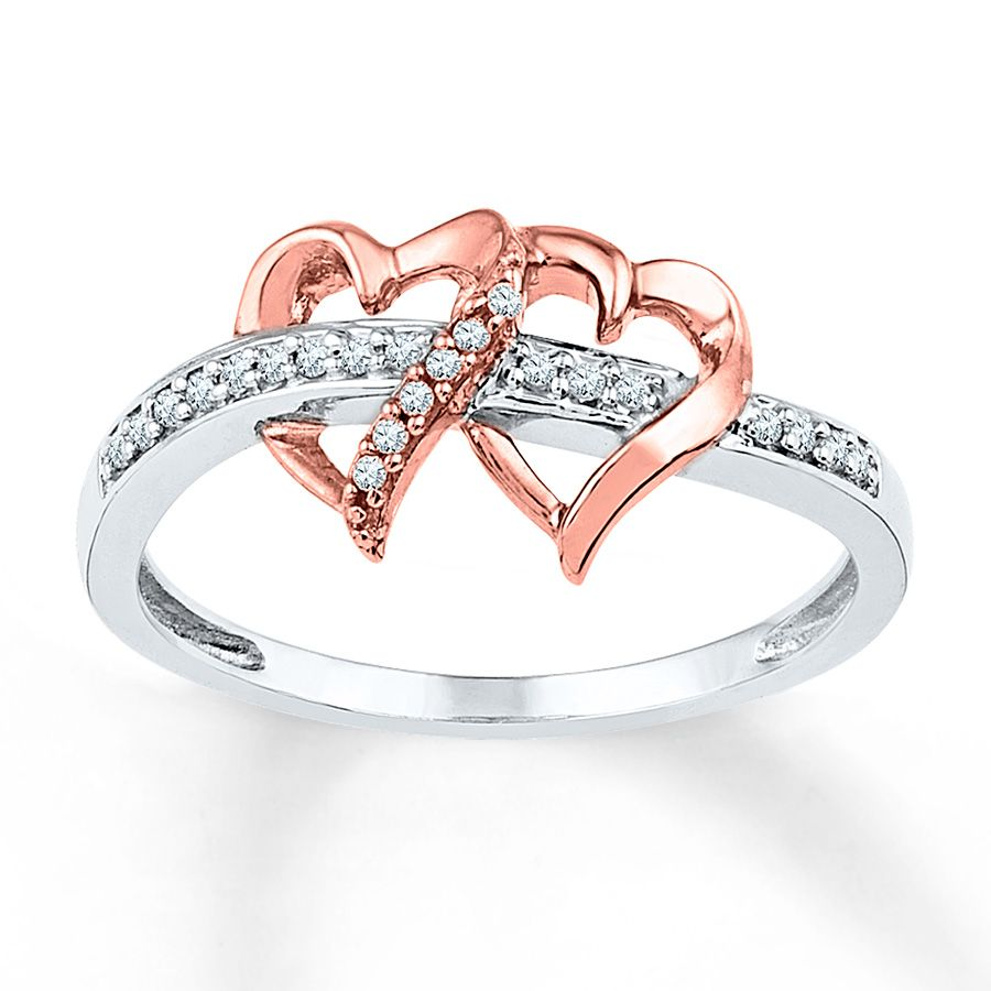 Hearts Of 10k Rose Gold Play Host To Sparkling Round Diamonds In This Lovely Ring For Her More Diamonds Are Sprinkled Along The Sterling Silv Diamond Heart Ring